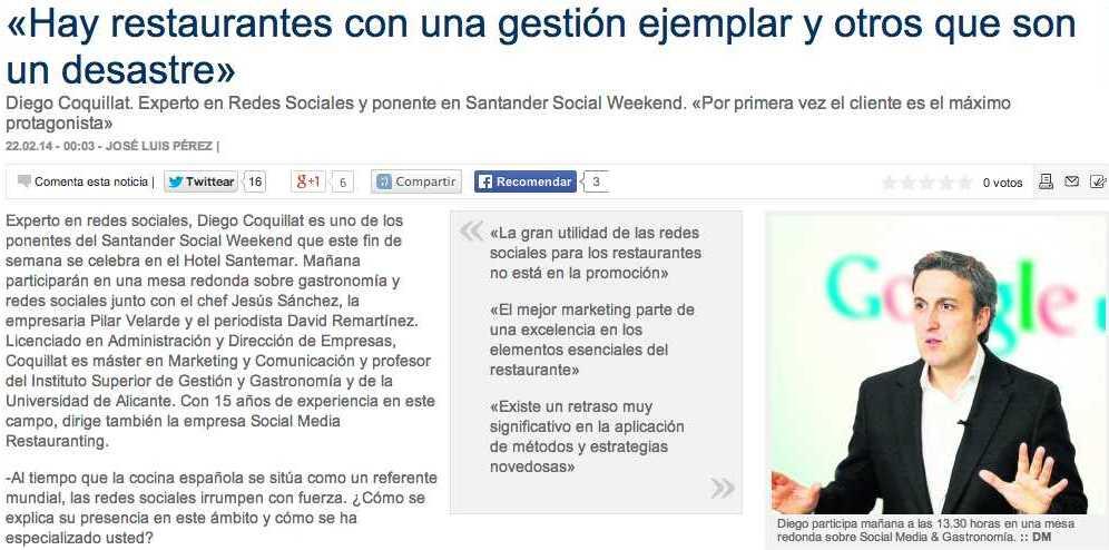 Noticia publica de Diego Coquillat en El Diario Montañes