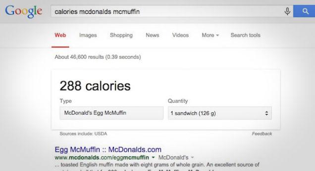 Google y las calorias en los menús de los restaurantes