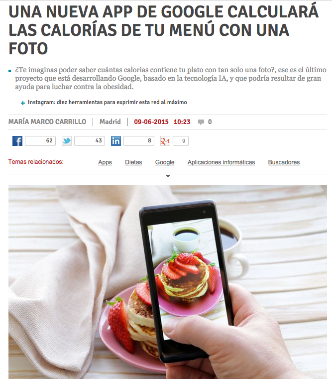 Una nueva app de Google calculará las calorías de tu menú con una foto   Emprendedores   Territorio Pyme