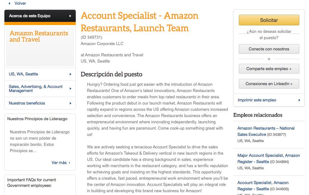 Trabajo restaurantes nueva división Amazon