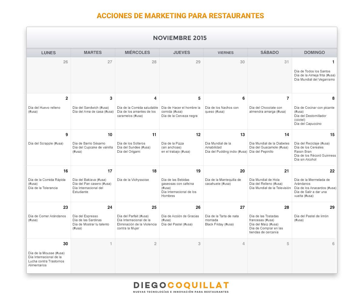 Calendario Noviembre de acciones de marketing para restaurantes
