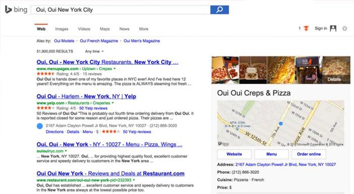 Order online es una de las nuevas funcionalidades que incluye Bing