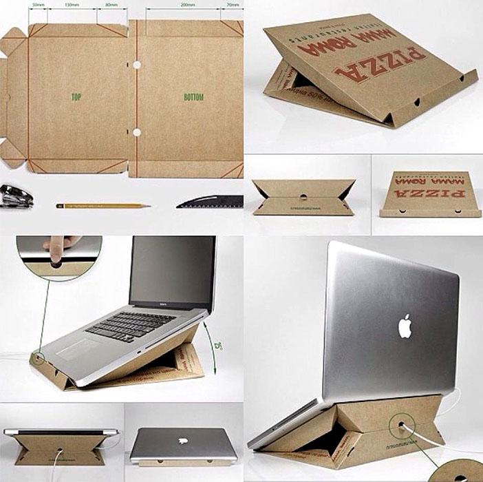 Soporte para ordenador portatil con cartón de pizza