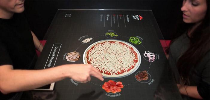 Mesa táctil en Pizza Hut