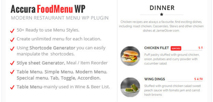 Accura Food Menu WP