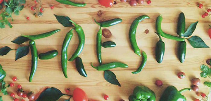 Palabra hecha con comida-pimientos