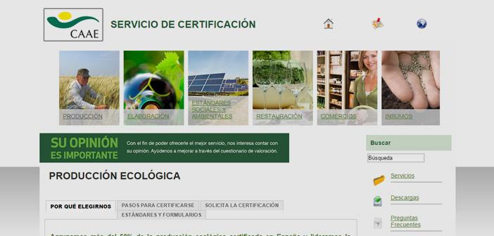 Producción ecológica certificada en España