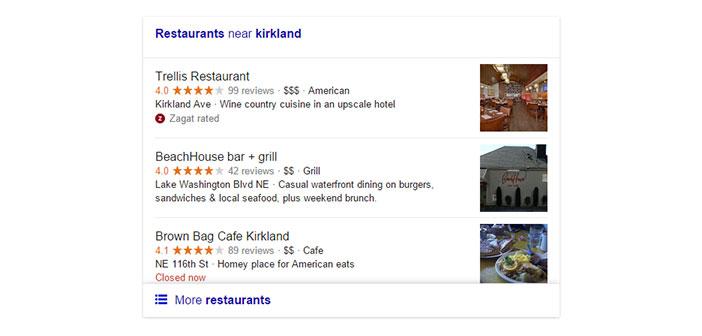 Versión actual de búsqueda local en Google para restaurantes