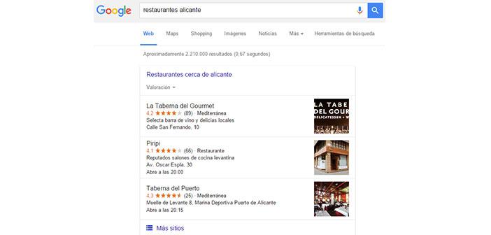 Versión actual de Google Search