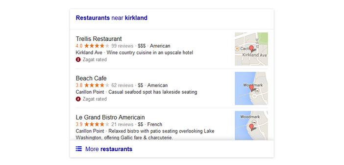 Versión anterior de búsqueda local en Google para restaurantes