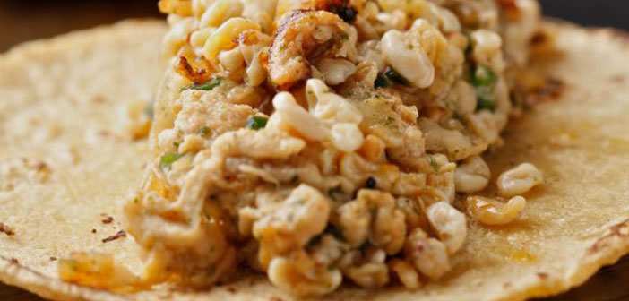Taco de escamoles, del restaurante Punto MX (Madrid)