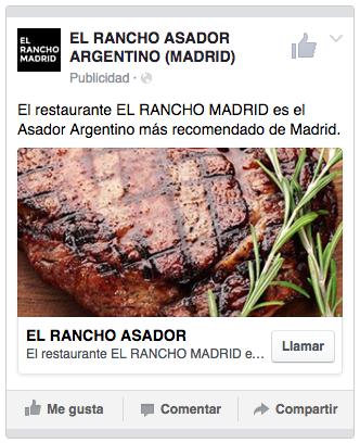 Anuncio geolocalizado para un restaurante en Facebook