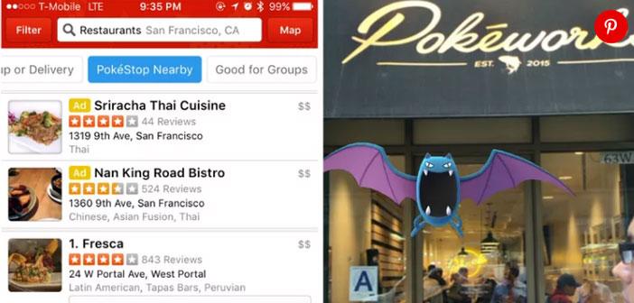 Yelp, uno de los mayores portales del mundo de recomendaciones para restaurantes ha incluido dentro de los criterios de búsqueda un filtro para encontrar restaurantes que están cerca de un PokéStop.