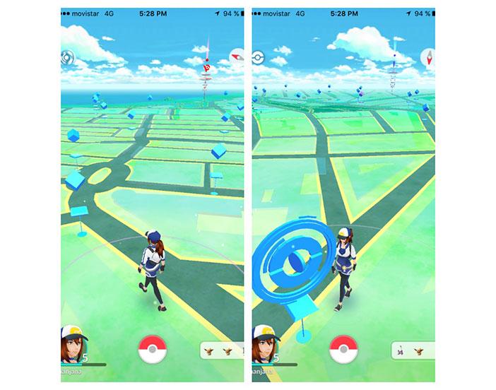 Las PokéParadas tienen un color azulado con diferentes círculos en las que se encuentran multitud de objetos y Pokémons.