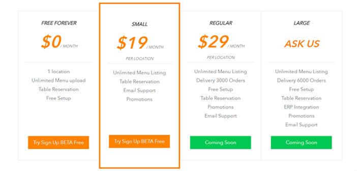 Para los restaurantes que quieran pertenecer a la plataforma, esta dispone de diferentes planes de registro que comienzan a partir de 19$ y que te permiten incluir menús ilimitados, el sistema de reserva de mesa y un soporte vía e-mail.