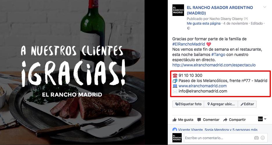 La página de Facebook del restaurante asador Argentino el Rancho Madrid. Uno de los pioneros en el social media para hostelería.