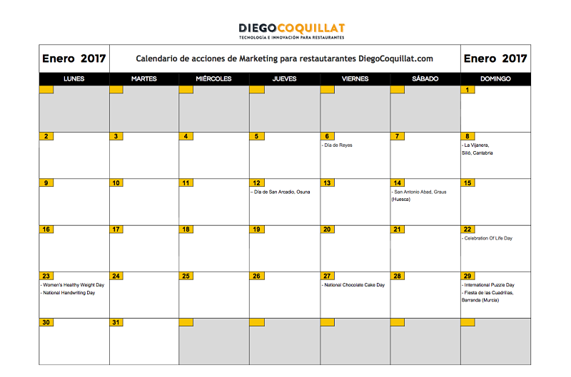 Enero 2017: Calendario de acciones de marketing para restaurantes