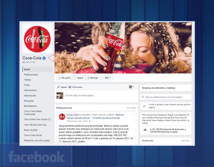 Página verificada por Facebook con la insignia azul.