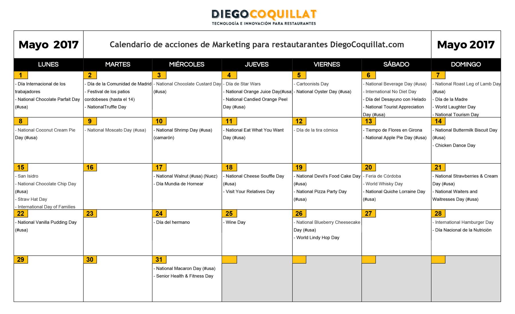 Mayo de 2017: calendario de acciones de marketing para restaurantes
