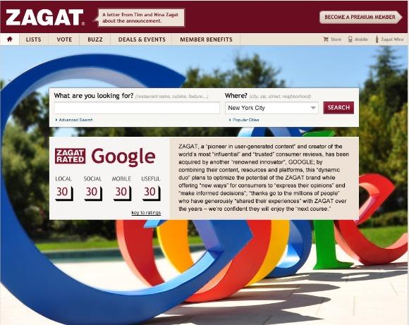 Google compra la guia gastronómica Zagat