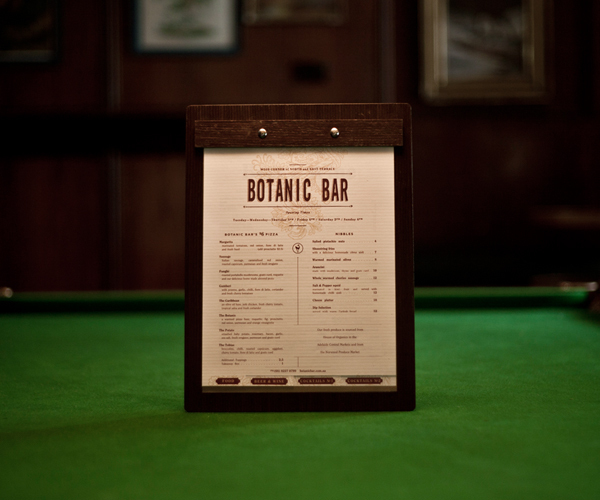 Botanic Bar – Menu