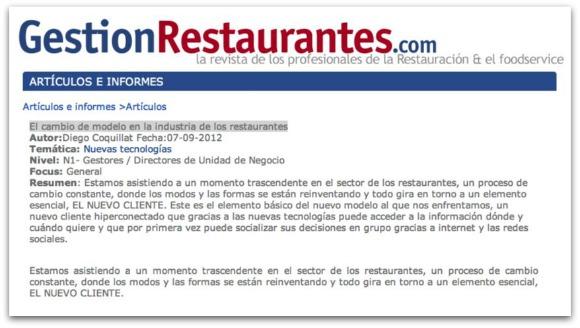 El cambio de modelo en la industria de los restaurantes