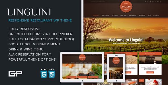 Linguini: Restaurant WordPress Thème Responsive