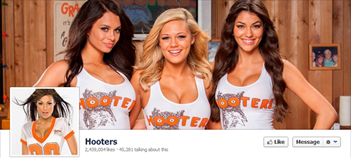 Hooters restaurant in social networks