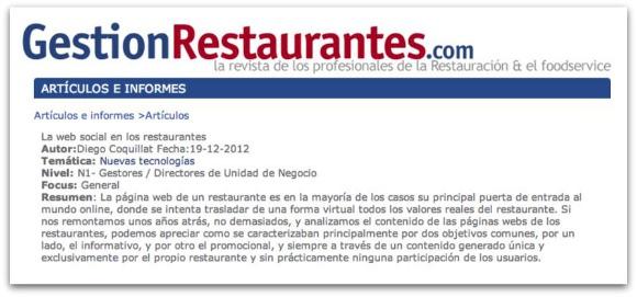 La web social en los restaurantes
