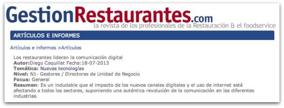 """Artículo Gestión Restaurantes """"Los restaurantes lideran la comunicación digital"""""""