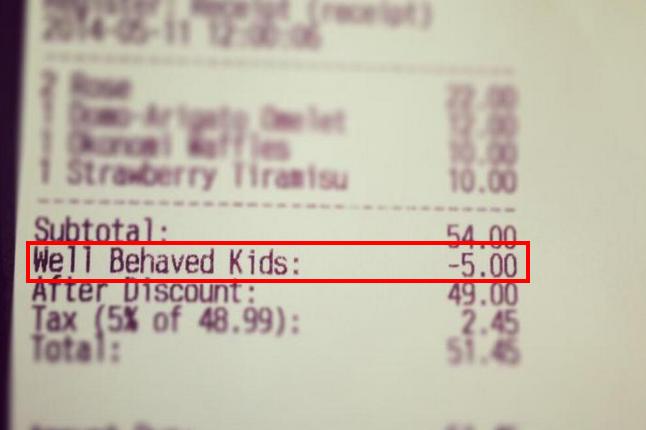 Children who behave well get discounts at restaurants