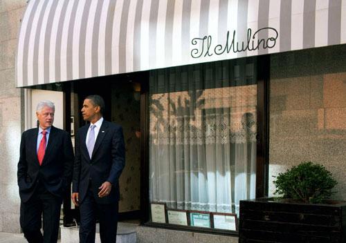 President-Obama at Il-mulino-bill-clinton