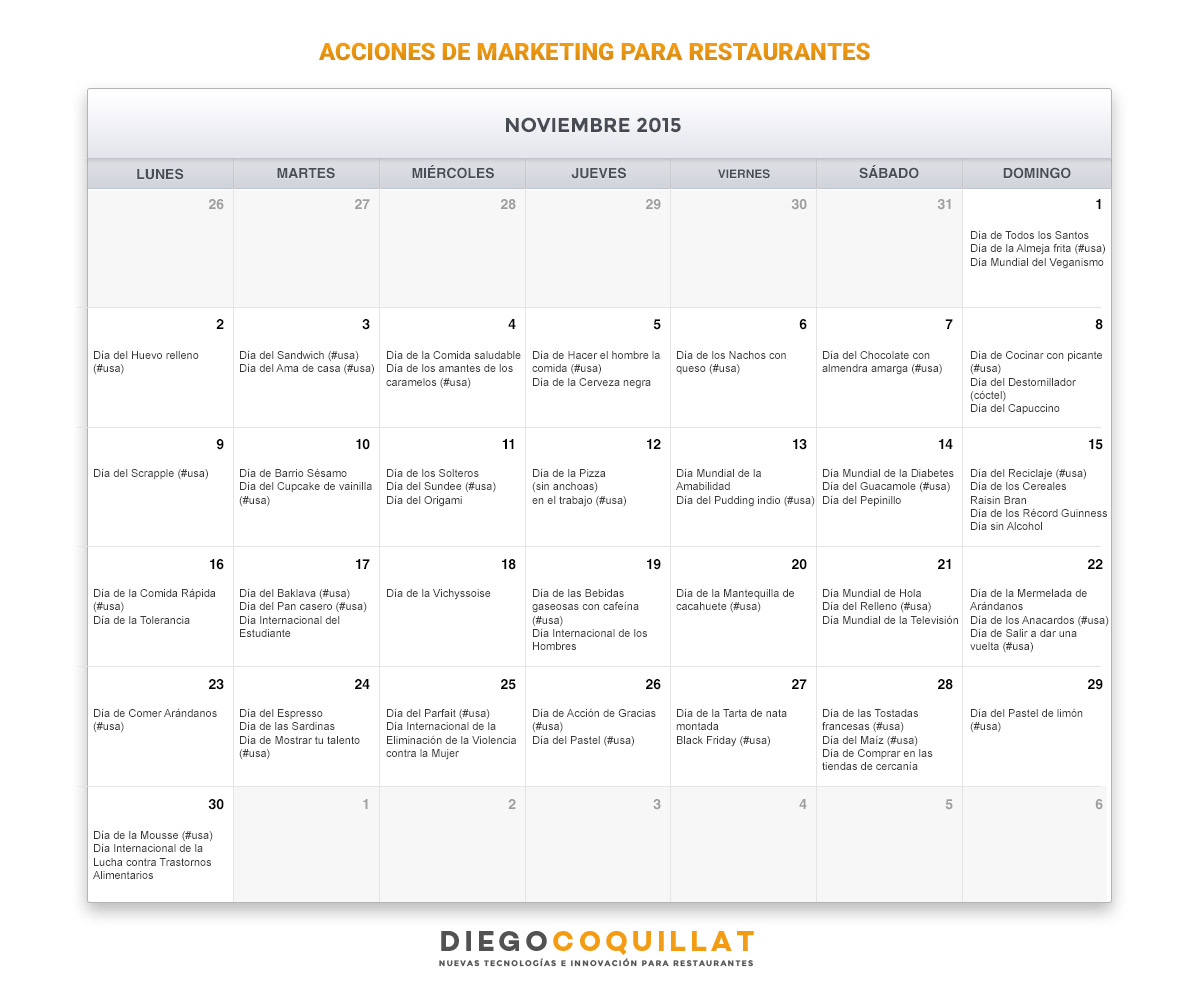 Calendario Noviembre de acciones de marketing para restaurantes