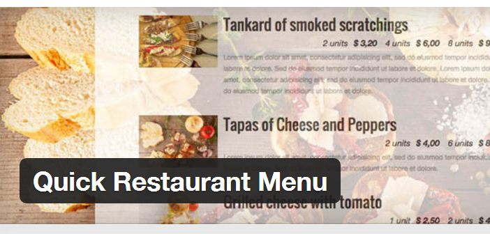Quick Restaurant Menu Plugin
