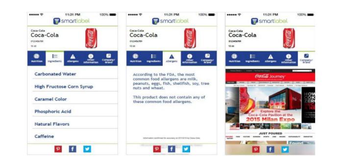 Pantallas de la aplicación Smartlabel