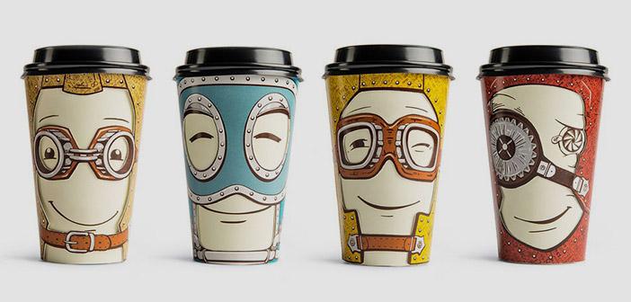 Gawatt et des tasses avec des personnages de votre humeur change en tournant simplement le bouchon.