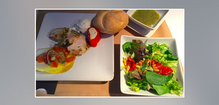 American-Airlines---Dinner-in-business-class