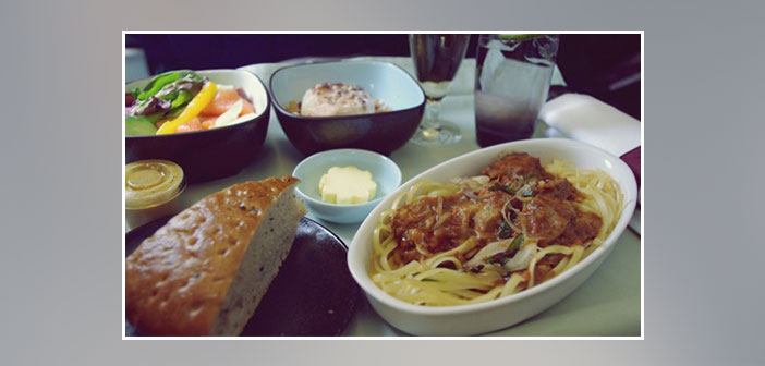 Cathay-Pacific-Airlines---Dinner-in-business-class