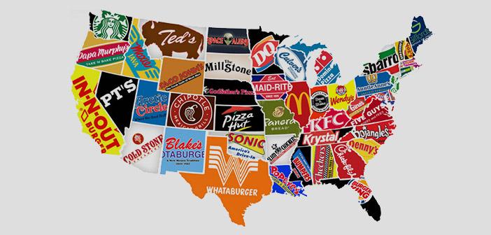 Mapa de fast food a USA