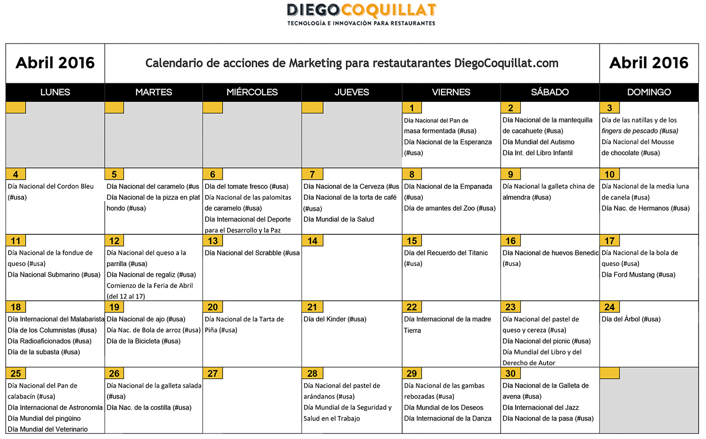 April 2016: marketing activities calendar for restaurants