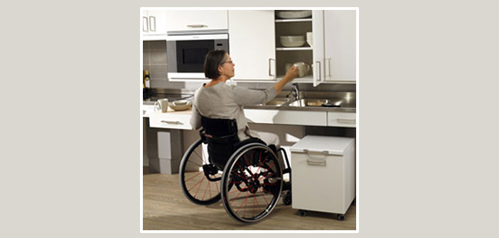 adapted kitchen for the use of people in wheelchairs