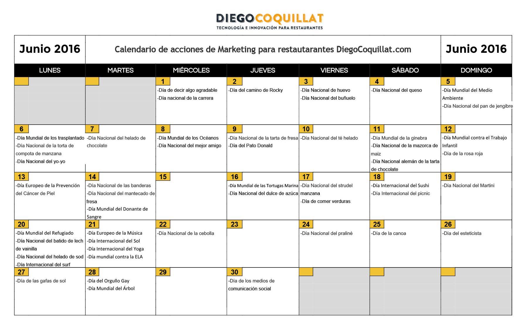 June of 2016: marketing activities calendar for restaurants