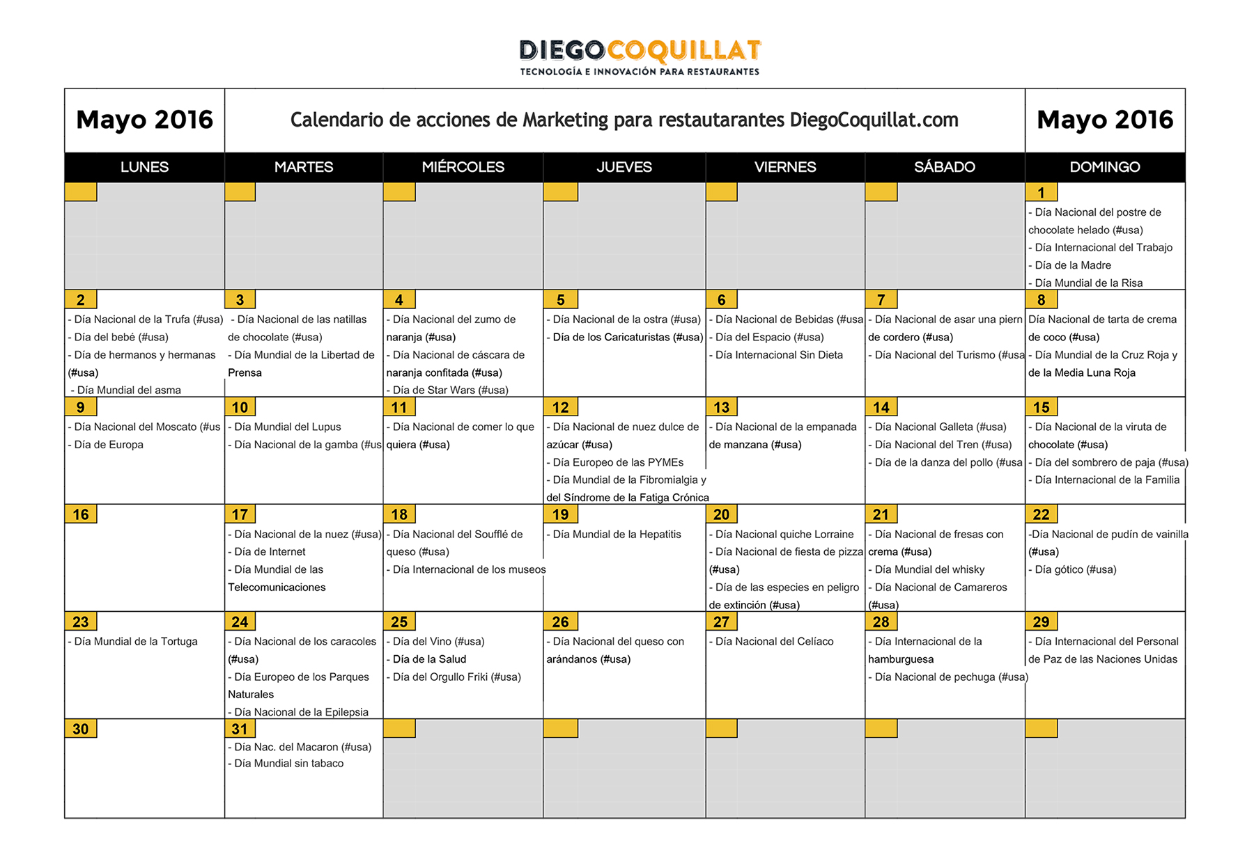 Calendar Marketing actions DiegoCoquillat.com-Mayo2016