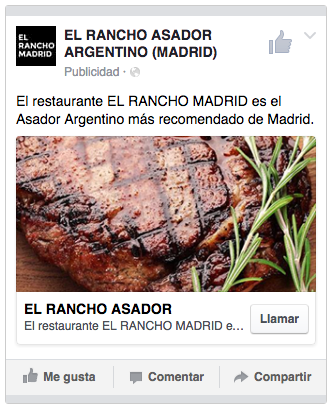 Geolocalised ad for a restaurant in Facebook