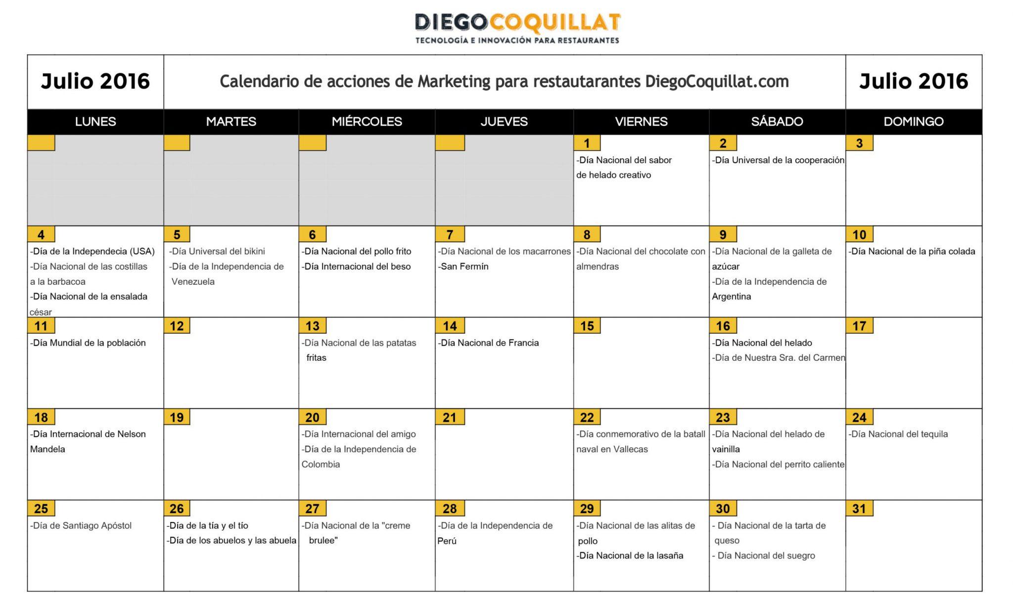 July 2016: Calendar of shares of marketing for restaurant