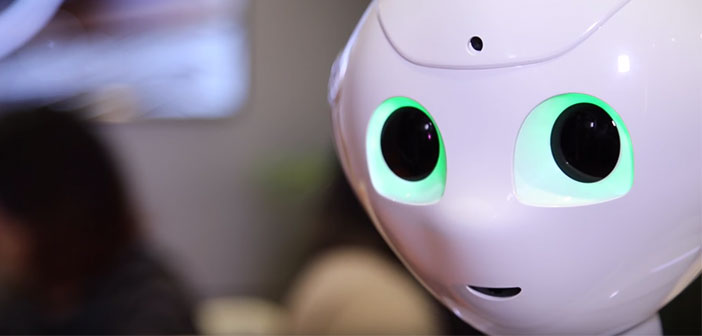 It's called Pepper and has been developed by SoftBank Corp Robotics. It was presented in the 2016 at CES (Consumer Electronics Show) in Las Vegas with a starting price of 1.700$.