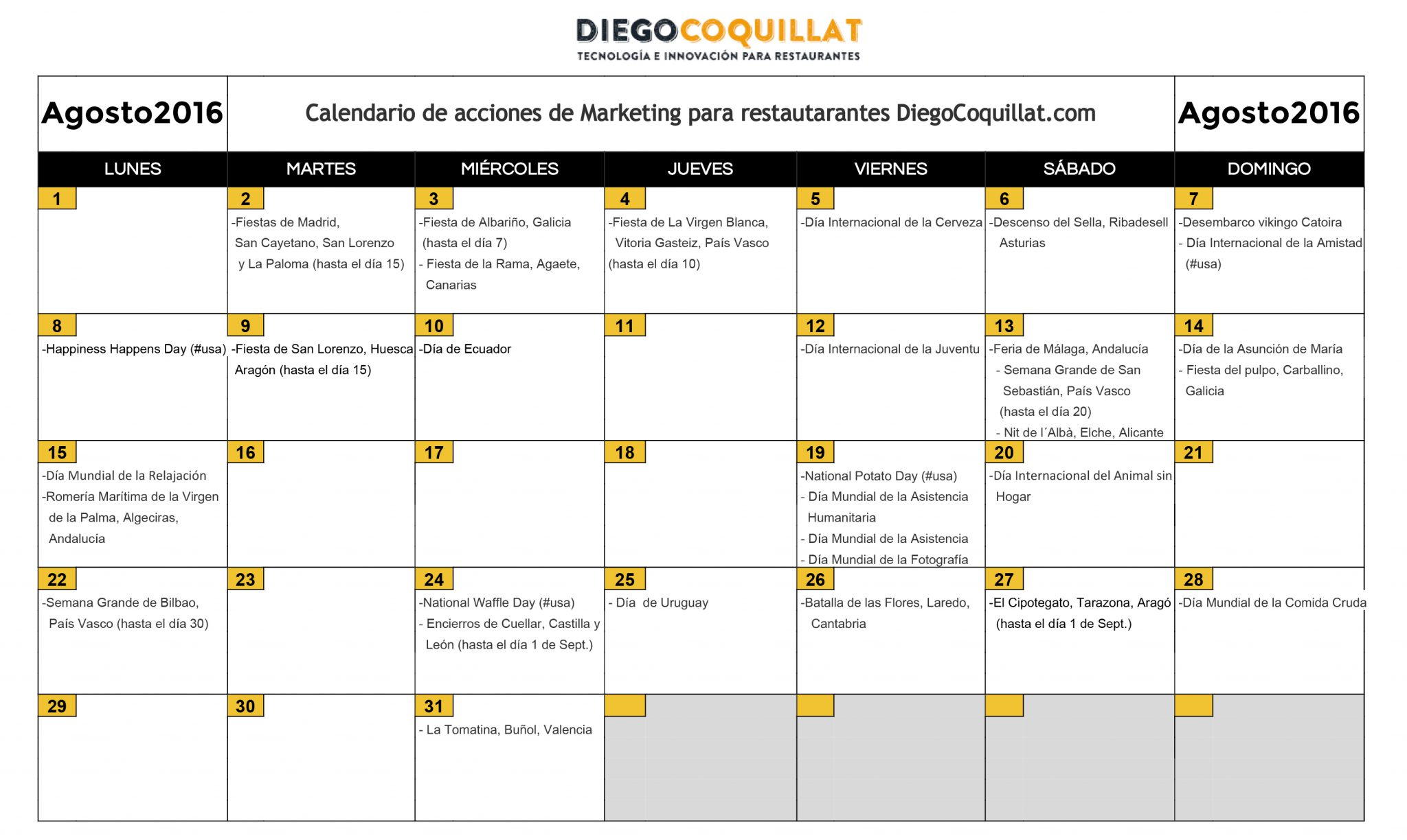 August 2016: marketing activities calendar for restaurants
