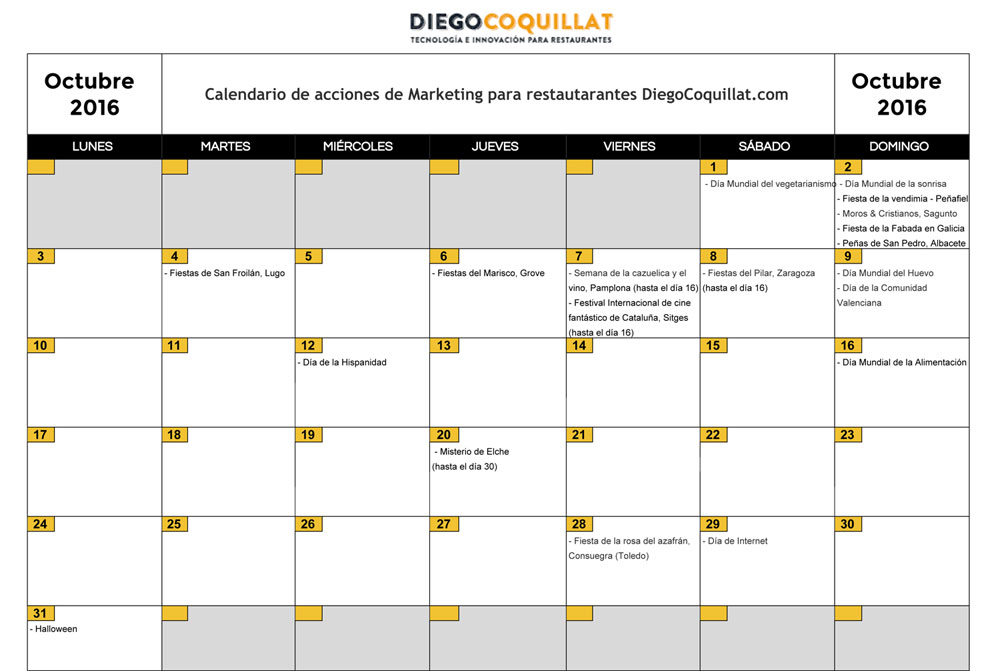 October 2016: Calendar of marketing activities for restaurants