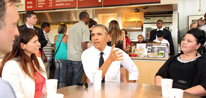 Obama has been a president close to restaurants.