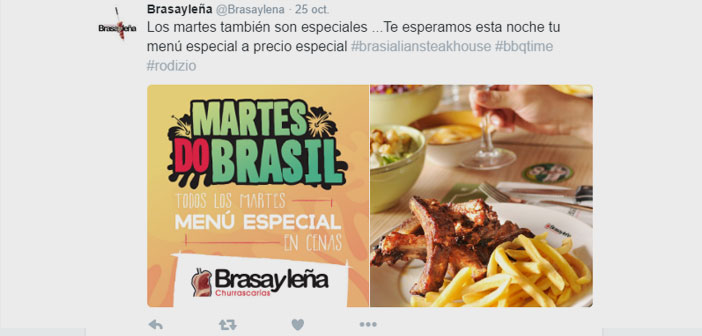 In Spain, Brasayleña case is a clear example of how not to miss any opportunity to launch promotions and other special actions involving the participation of users, by Valentine, In Christmas, 2X 1 Thursday, draw free dinners, etc…